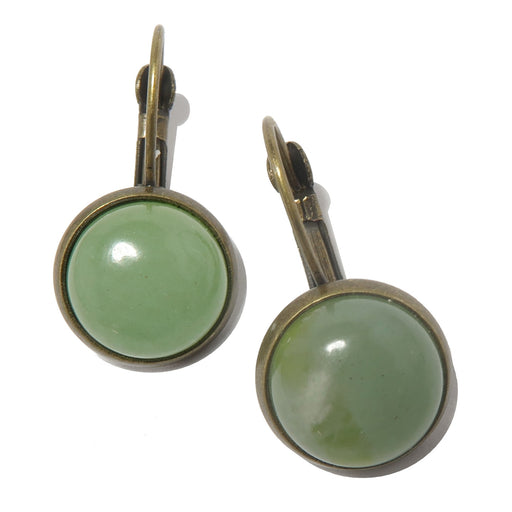 green aventurine in bronze leverback earrings