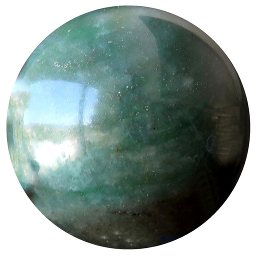 green aventurine sphere with black and white inclusions