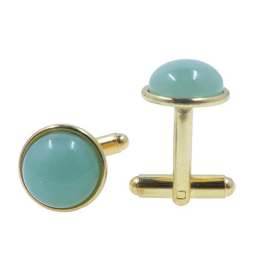 green aventurine circles in gold plated brass cufflinks