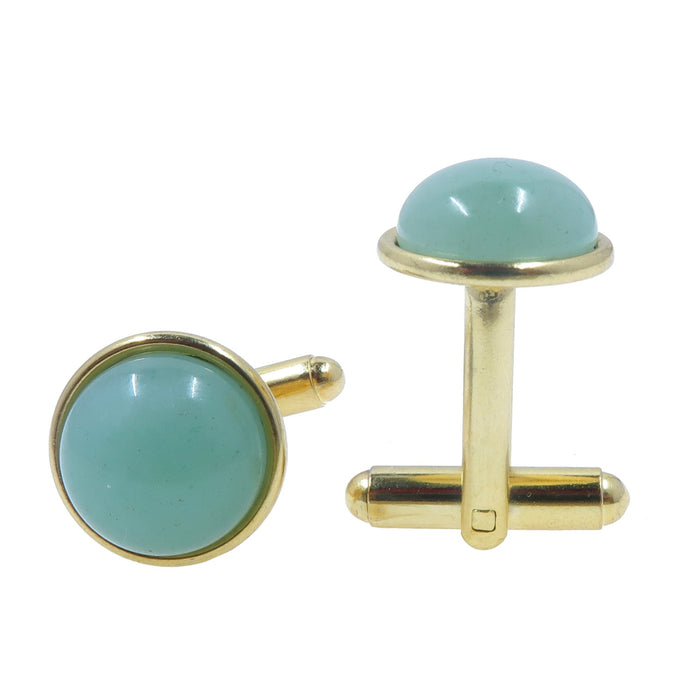 Aventurine Gold Cufflinks 12mm Green Gemstones Smooth Abundance Circle Formal Pair B01