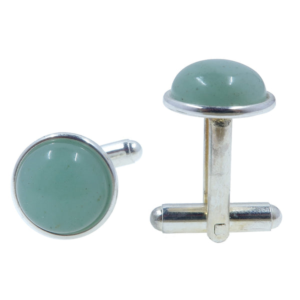 Aventurine Silver Cufflinks 12mm Green Gemstones Smooth Abundance Circle Stone Pair B01