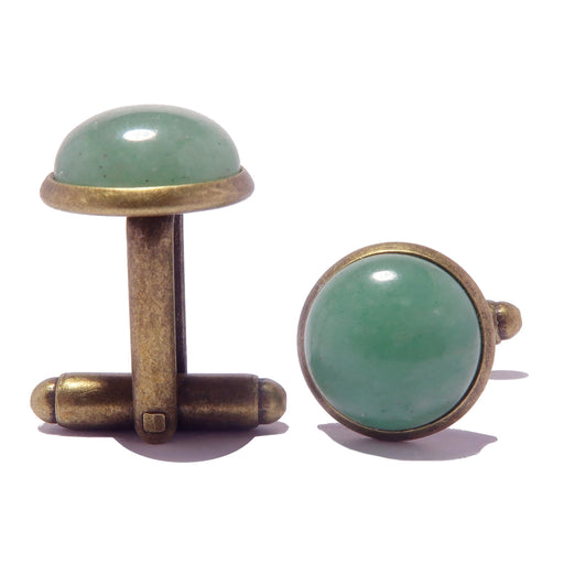 green aventurine antique bronze cufflinks