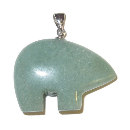 green aventurine bear on silver bail pendant