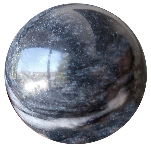 grey and white aventurine sphere