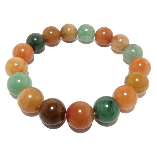 Aventurine Medley Bracelet 10mm Natural Green Orange Yellow Round Stone Stretch