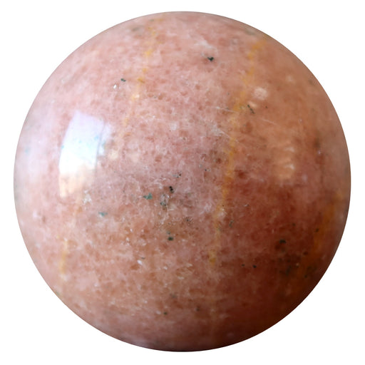 pink aventurine sphere with black and yellow inclusions