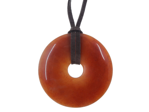 "Aventurine Red Necklace 40"" Specialty One-of-Kind Giant Donut Stone DIY Brown Leather Cord S01"