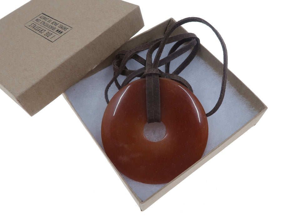 Aventurine Red Necklace One-of-Kind Giant Donut Stone DIY Untied Leather Cord