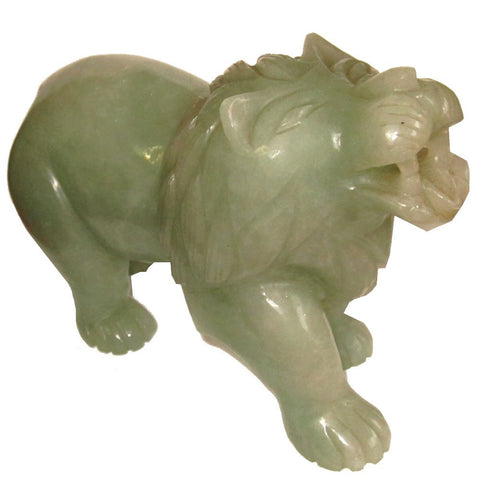 Animal Lion Aventurine Green 01 Masterful Crystal Stone Carving Abundance Energy Feline Cat 6.5""