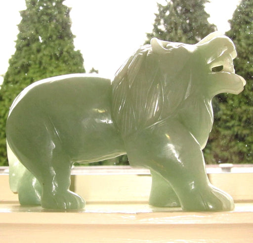 "Animal Lion Aventurine Green 6.5"" Collectible Masterful Crystal Stone Carving Abundance Energy Feline Cat C01"