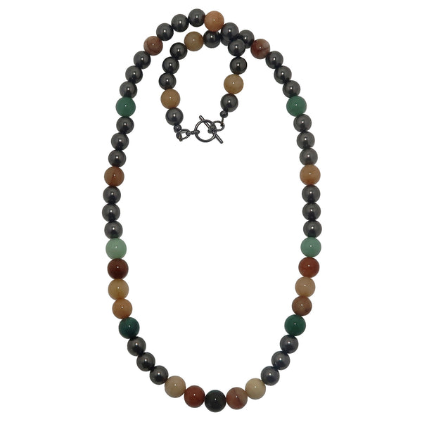 Aventurine Medley Necklace - Boutique Green Yellow Orange Round Metallic Black B01