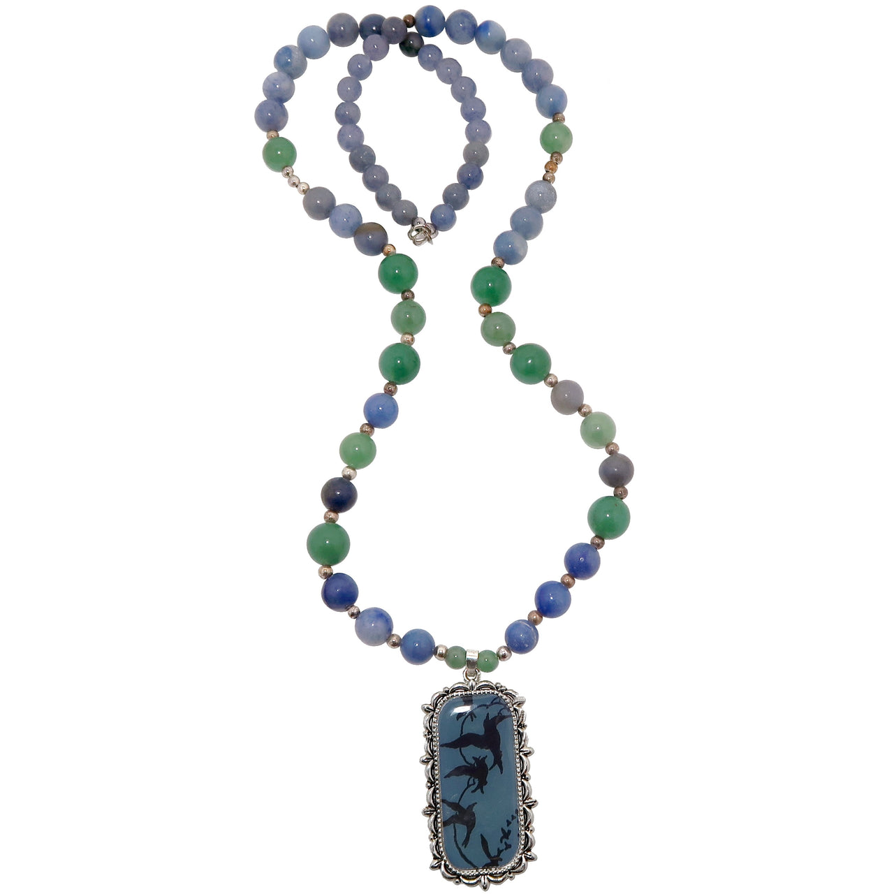 "Aventurine Mixed Necklace 26"" Specialty One-of-kind Blue Gemstone Bird Beaded S01"