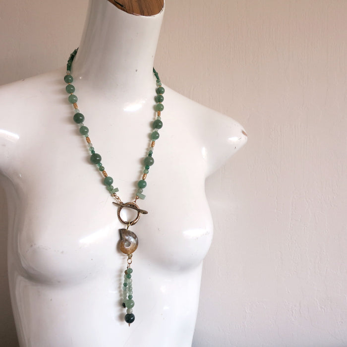 "Aventurine Green Necklace 22"" One-of-Kind Gemstone Yellow Ammonite Fossil Snake"