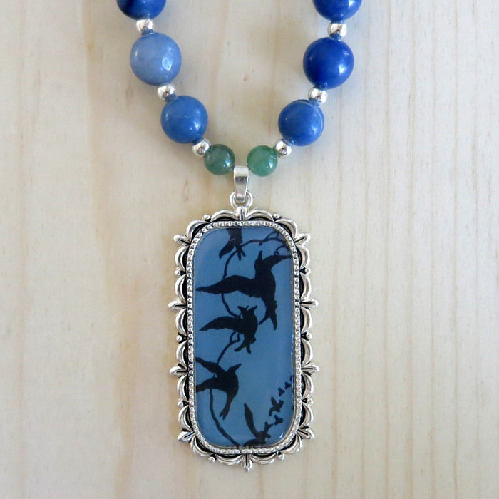 Aventurine Mixed Necklace Blue Gemstone Singing Song Birds