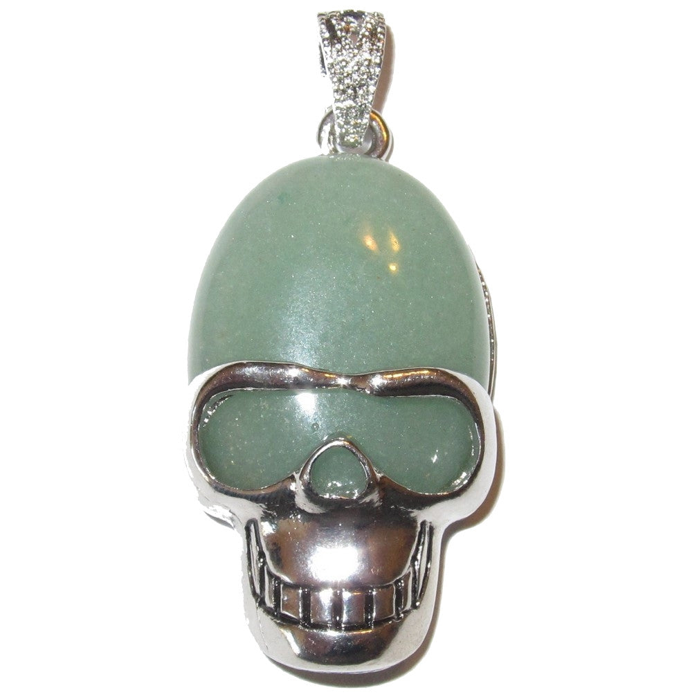 "Aventurine Pendant 2"" Green Happy Silver Skull Lucky Wealth Good Life Stone Charm 02"