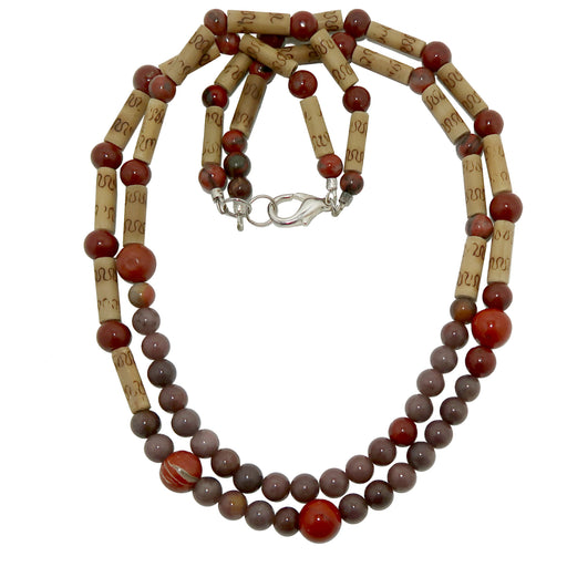 "Aventurine Purple Necklace 21"" Specialty One-of-Kind Red Jasper Multi-strand Bamboo S02"