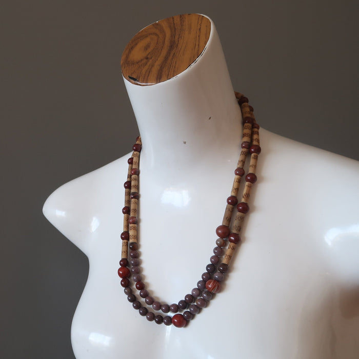 Purple Aventurine Necklace Red Jasper Bamboo Beaded Multi Layer