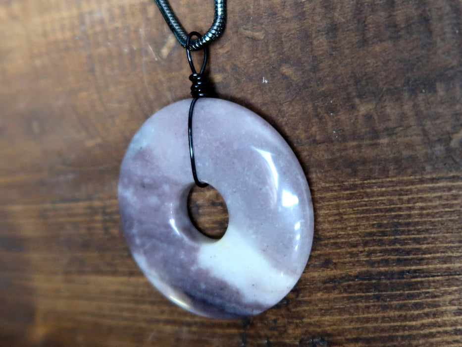 "Aventurine Purple Necklace 24"" Specialty Large Donut Gemstone One-of-Kind S01"