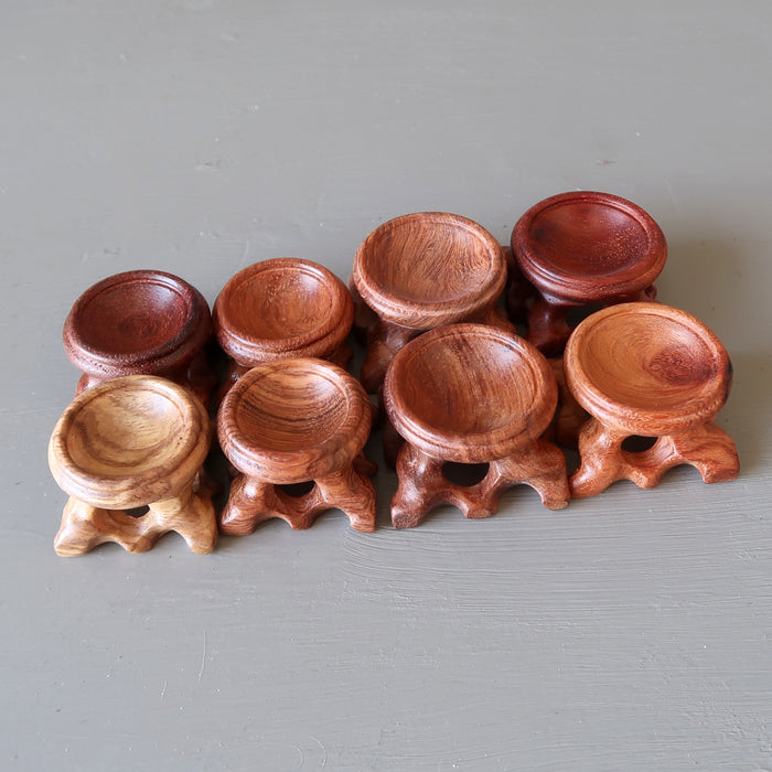 set of 8 fancy wood display stands