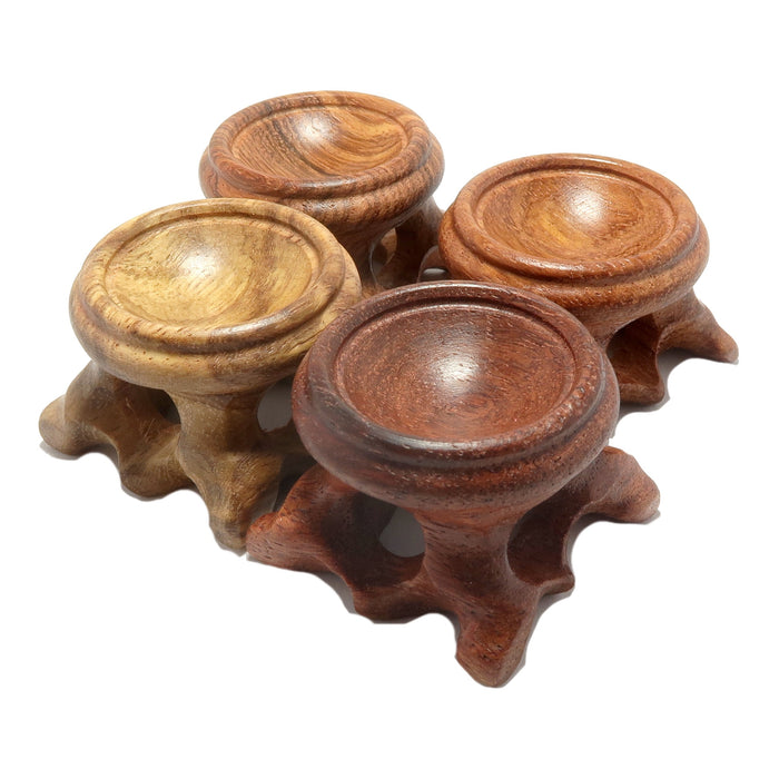set of 4 fancy crystal ball display stands in varying shades of brown wood