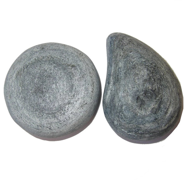 "Basalt Raw Gemstone 3.5"" Premium Pair of Hot Massage Rock Stones Male & Female P02"