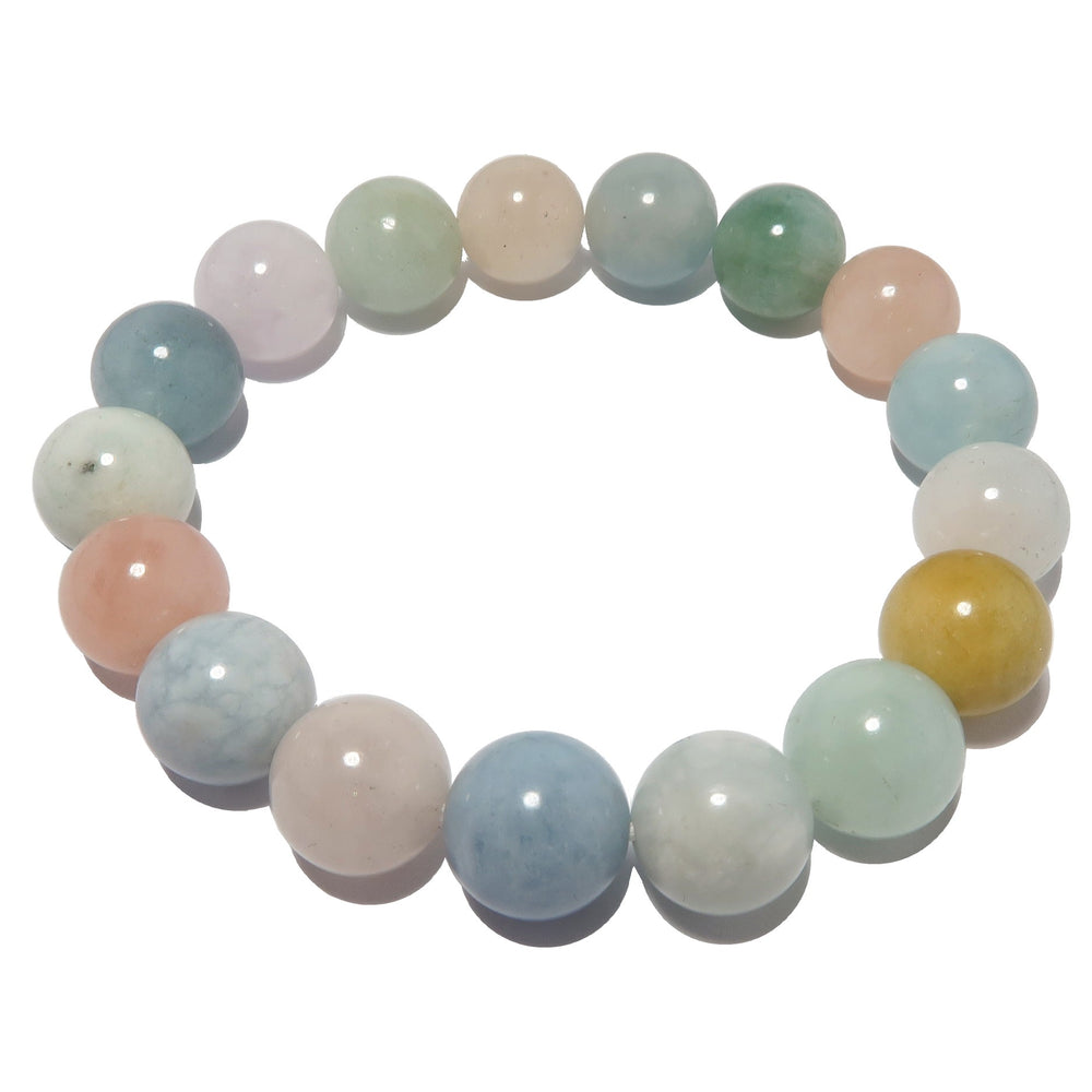Beryl Bracelet 9mm Medley Blue Green Aquamarine Pink Morganite Heliodor Round Stretch B02