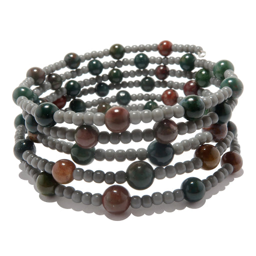 5 coil memory wire bracelet beaded with indian bloodstone and gray plastic beads
