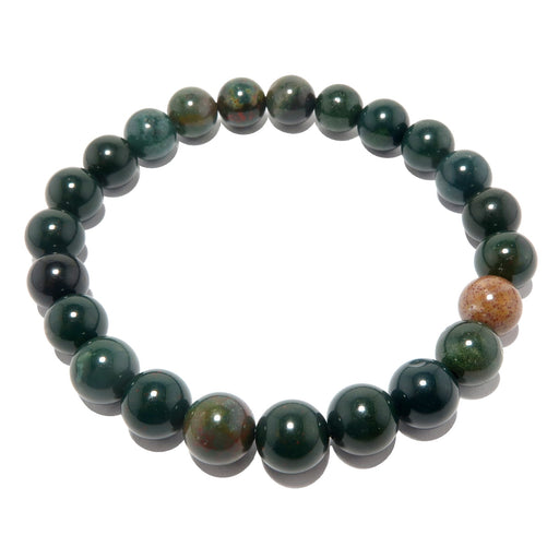 green, red, yellow indian bloodstone beaded stretch bracelet in 7-8mm beads