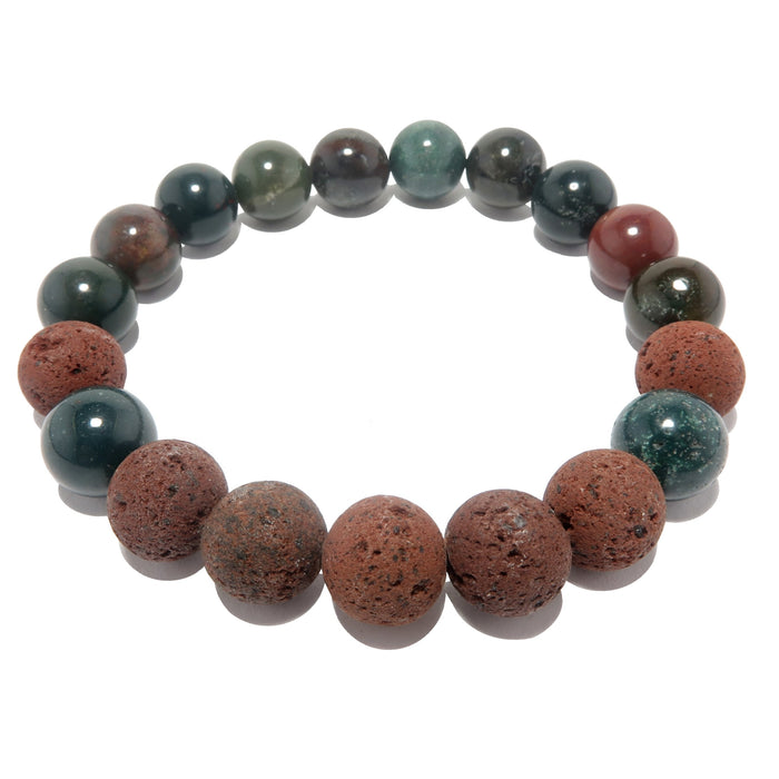 red lava and indian bloodstone round beaded stretch bracelet