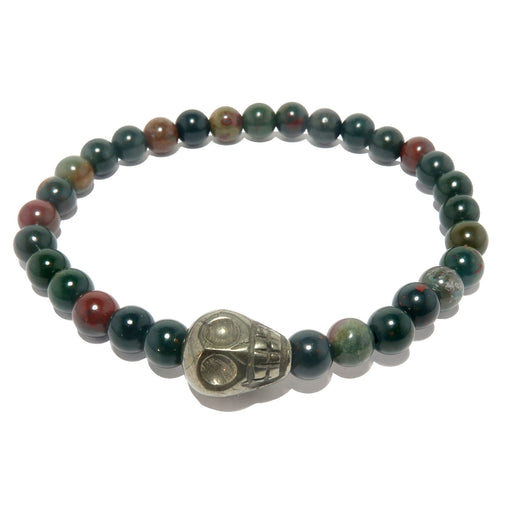 pyrite skull and round bloodstone beaded stretch bracelet