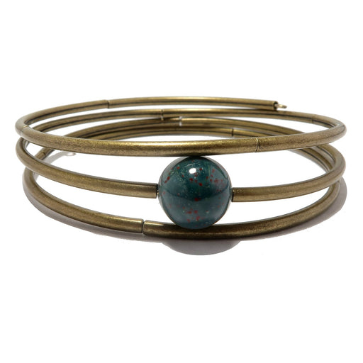 round indian bloodstone bead with antique curve metal beads on 3 layers of memory wire bracelet