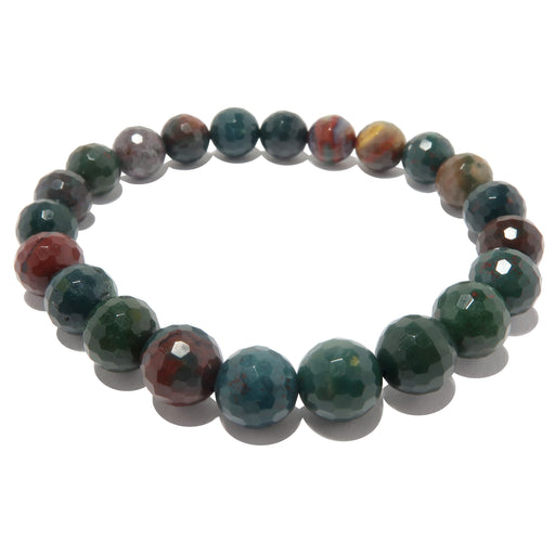 Bloodstone Bracelet 7mm Faceted Indian Green Red Elegant Gem Stretch