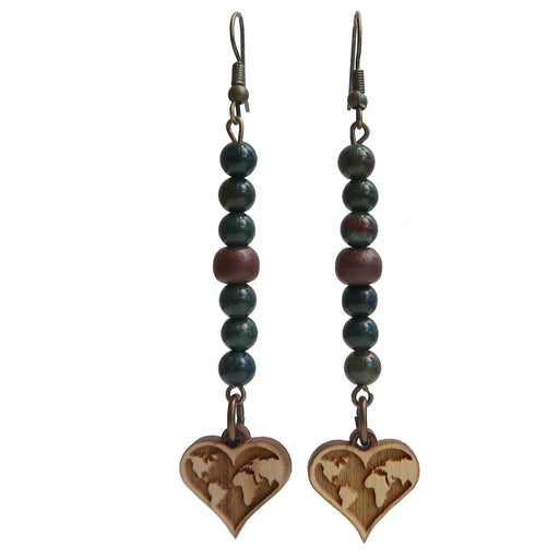 brown wood heart shaped world map charms on dark green bloodstone beaded earrings and antiqued steel earwire