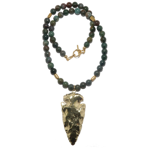 gold arrowhead bloodstone beaded necklace