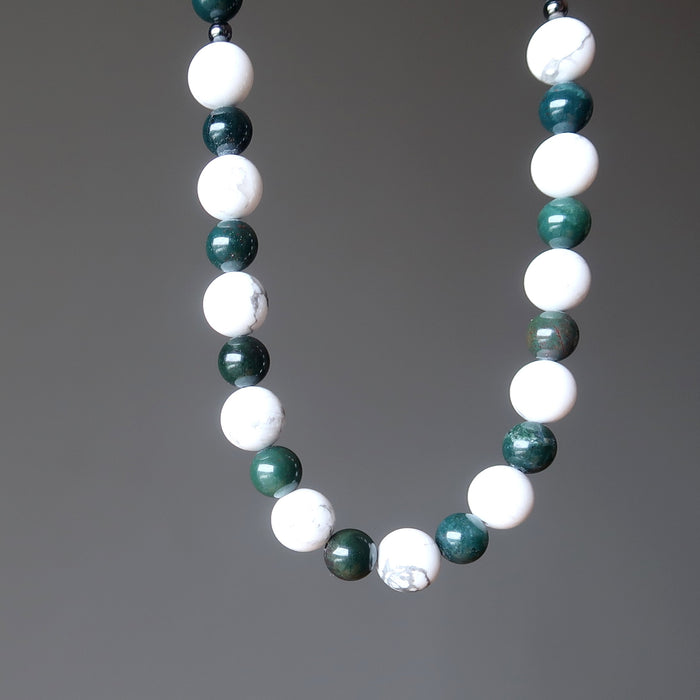 Bloodstone Howlite Necklace White Green Round Beaded Gemstone Healing