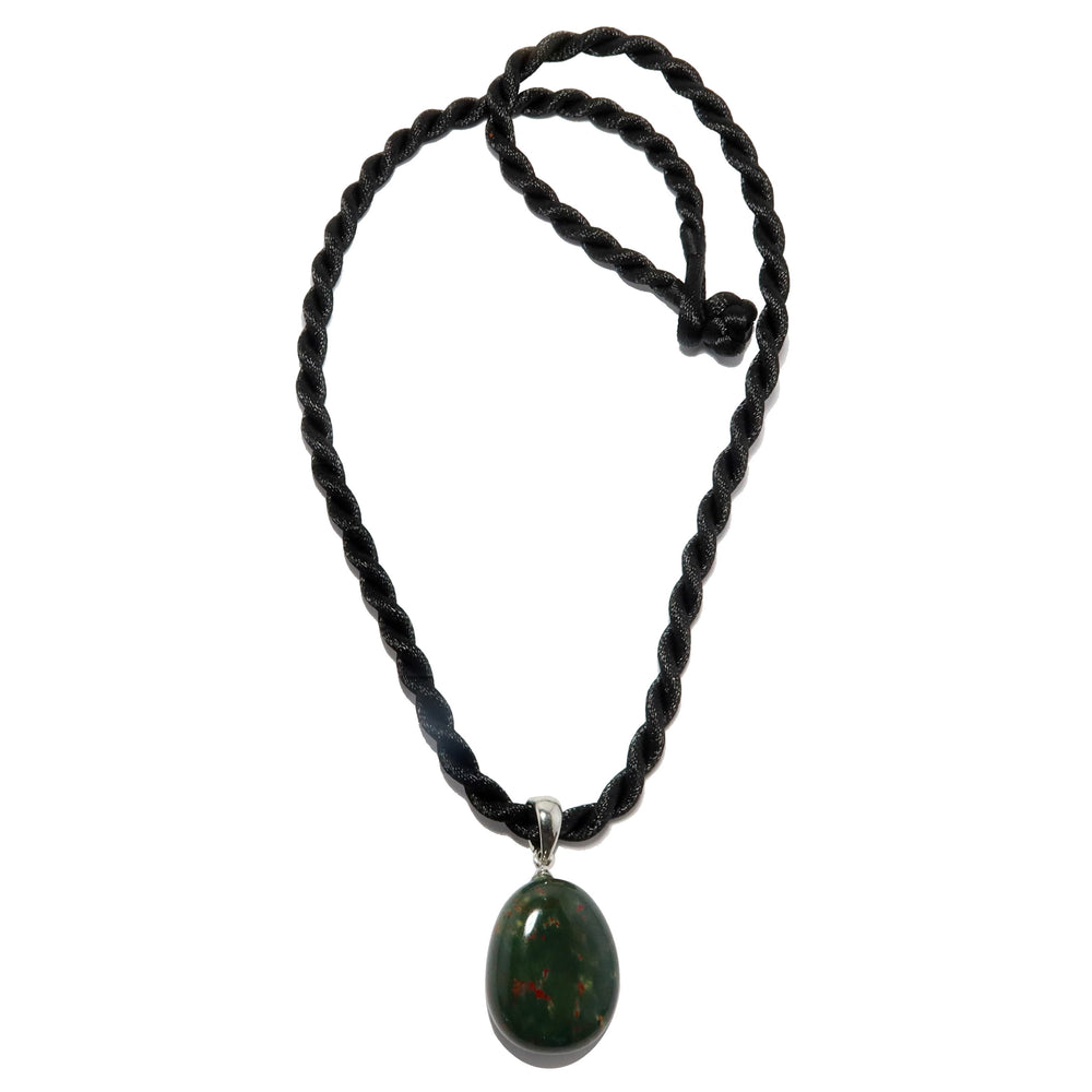 Bloodstone Pendant Necklace Black Satin-Finished Cord Green Red Charm