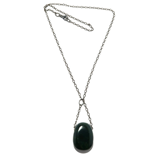 Bloodstone Necklace Gunmetal Chain Green Red Polished Stone