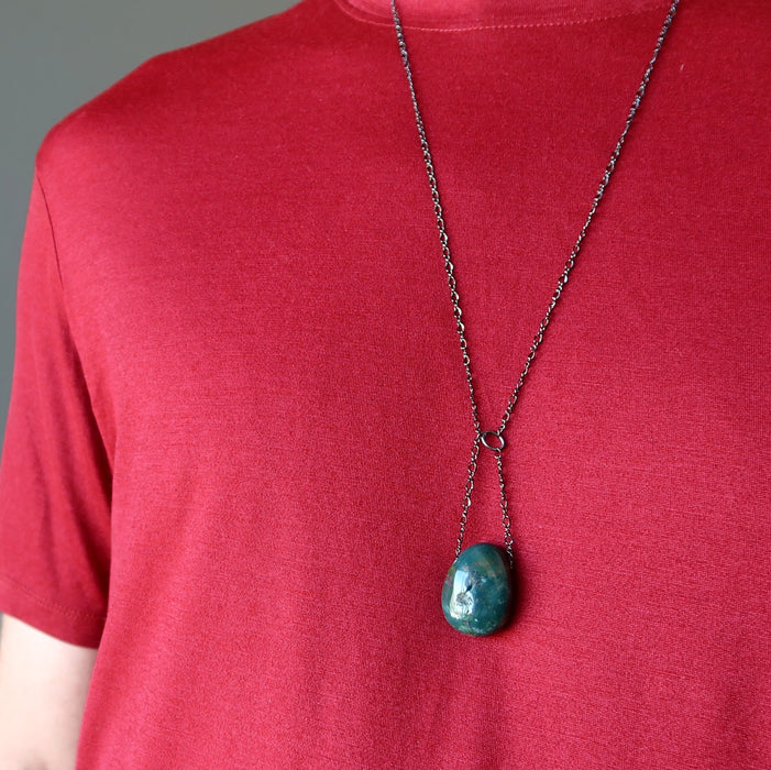 Bloodstone Necklace Designer Gunmetal Chain Green Red Polished Stone