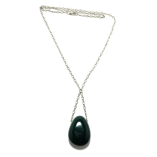 Bloodstone Necklace Sterling Silver Chain Green Red Polished Stone
