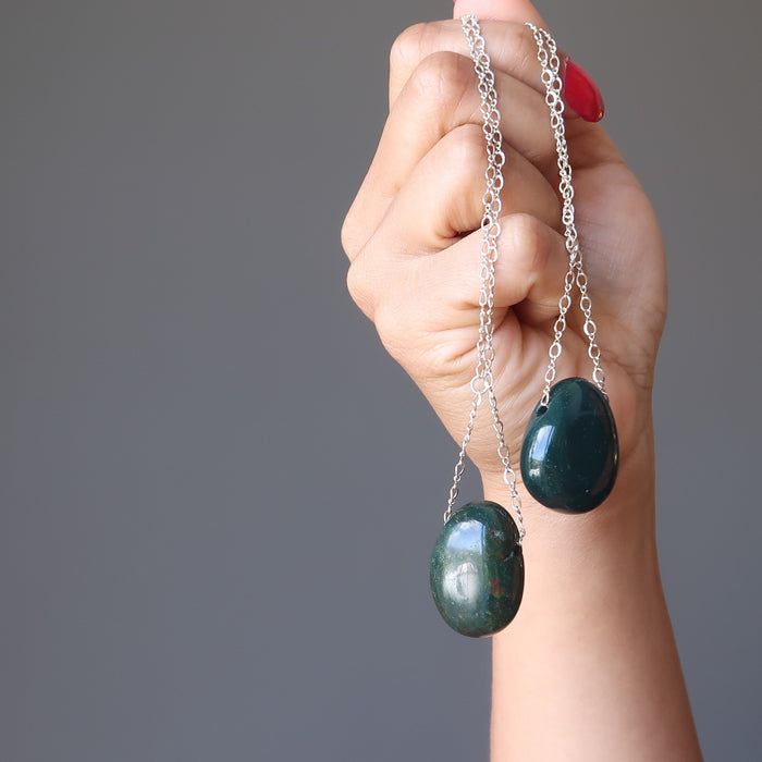 Bloodstone Necklace Designer Sterling Silver Chain Green Red Polished Stone