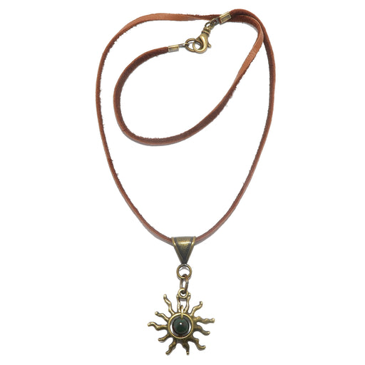 bloodstone sun necklace on leather cord