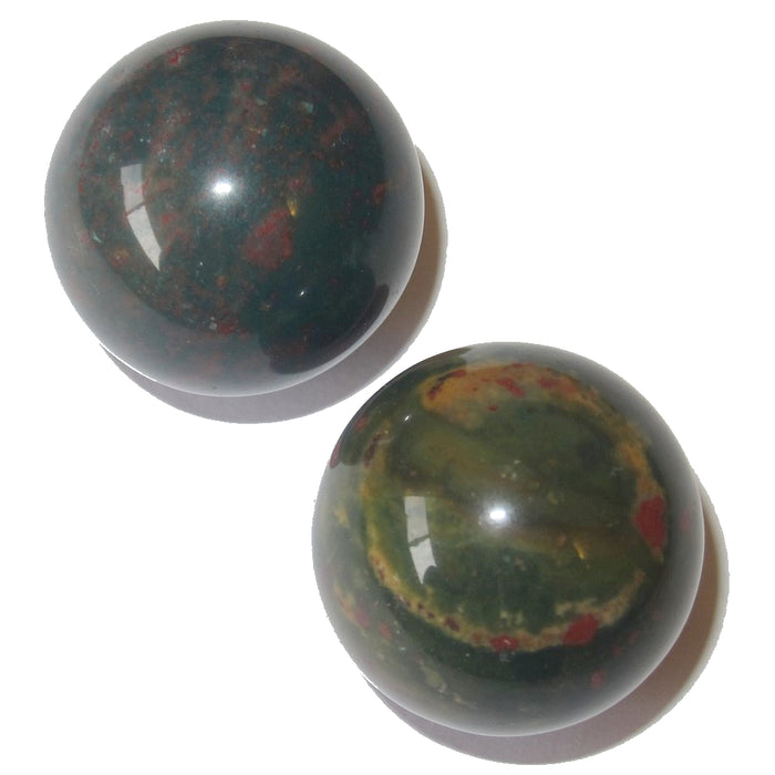 Bloodstone Ball Premium Pair of Meditation Spheres P02 (Deep Green & Red, 1.0 Inch)