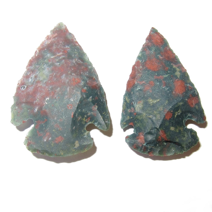Bloodstone Raw Gemstone Premium Pair of Arrowhead Stones P01 (Green & Red)