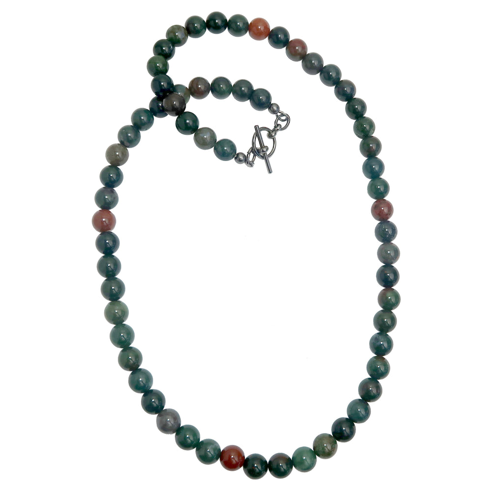 Bloodstone Necklace Beaded Smooth Round Green Red Gemstone Healing
