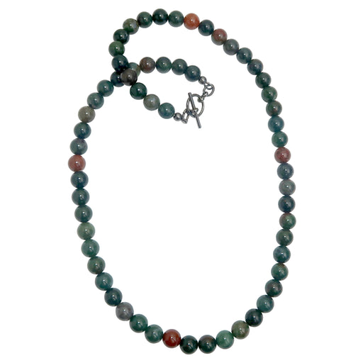 Bloodstone Necklace Beaded Smooth Round Meditative Green Red Gemstone
