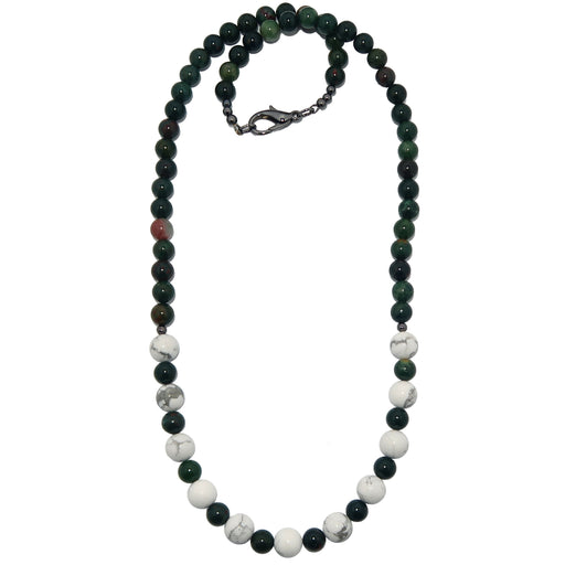 Bloodstone Howlite Necklace White Green Round Gemstone Beaded