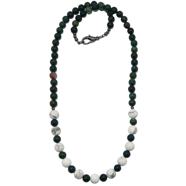 Bloodstone Necklace - Boutique White Howlite Green Round Gemstone Beaded B04