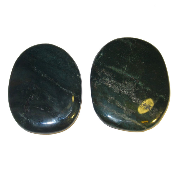 "Bloodstone Polished Stone 2.5"" Collectible Set of 3 Large Green Crystal Layout Chakra Healing Plates C54"