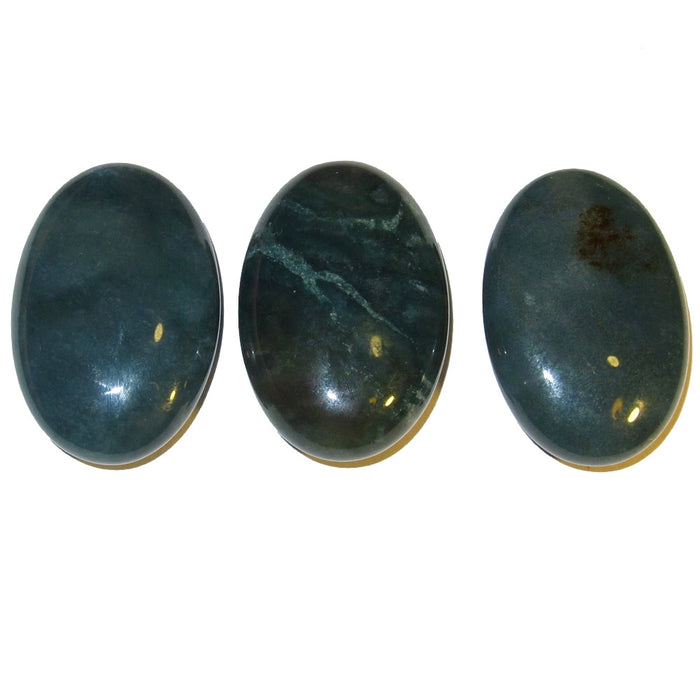 Bloodstone Polished Stone Set of 3 Attractive Green Oval Palm Crystals