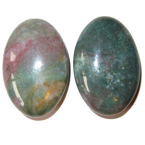 "Bloodstone Polished Stone 2.3"" Premium Pair of Green Red Oval Hand Palm Size P01"